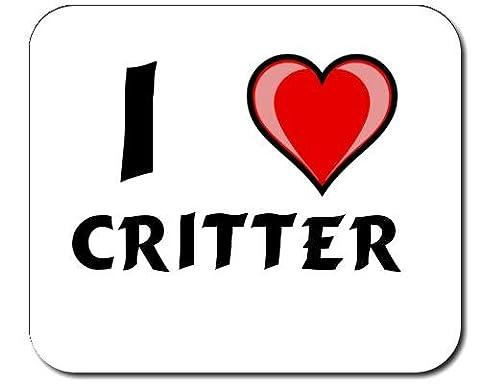 Mauspad mit Aufschrift Ich liebe Critter (Vorname/Zuname/Spitzname)