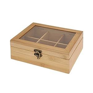 Boîte à thé élégante avec 6 compartiments en bois