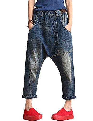 Youlee Frauen Elastische Taille Wide Leg Haremshose Loch Jeans Style 5 Wide Leg Jeans-hose