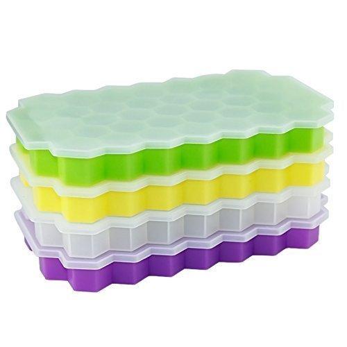 URGrace 2Pcs Silikon Hexagon Eis Würfel Tray mit Deckel Flexible Gummi 37 Eiswürfel Formen Eiscreme Maker Küche Bar Trink Zubehör (bei zufälliger Farbe) Eis-block-maker