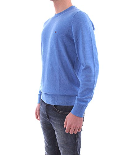 Tommy Hilfiger Herren Pullover Cotton Silk Cneck Blau (Regatta Heather 492)