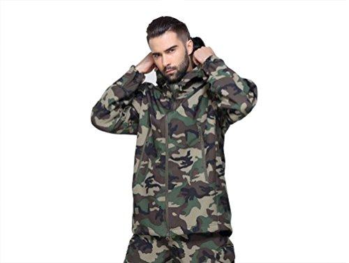 YuanDian Herren Taktisch Softshell Fleecejacke Camouflage Militär Hoodie Outdoor Wandern Camping Warm Innenfutter Winddicht Wasserdicht Mantel Jacken Skijacke Dschungel Tarnung 3XL