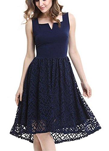 SHUNLIU 2017 Sommer Damen knielanges Spitzen Kleid Elegant Damen Spitzen Sommerkleid ärmellos Einfarbig knielanges festliches Minikleid Partykleid Blau