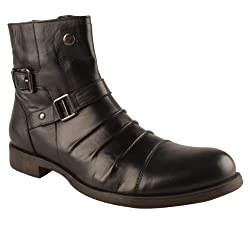 Salt N Pepper Mens Black Leather Boots, Mid Ankle, Monk Shoes Size 9 UK/43 EU