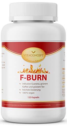 F-BURN * 120 Kapseln * Guarana, grüne Kaffeebohnen, grüner Tee, schwarzer Pfeffer * Fettverbrennung & gesteigerter Kalorienverbrauch * - VITACONCEPT