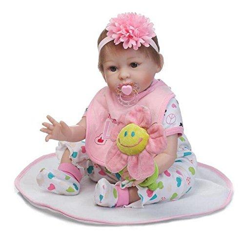 Lebensechte Reborn Baby-Puppe Weichen Tuch Körper Gewichteten Augen Geöffnet Handmade Für Kleinkind Geschenke Spielzeug (21.6 Zoll / 55 cm) HOJZ,A