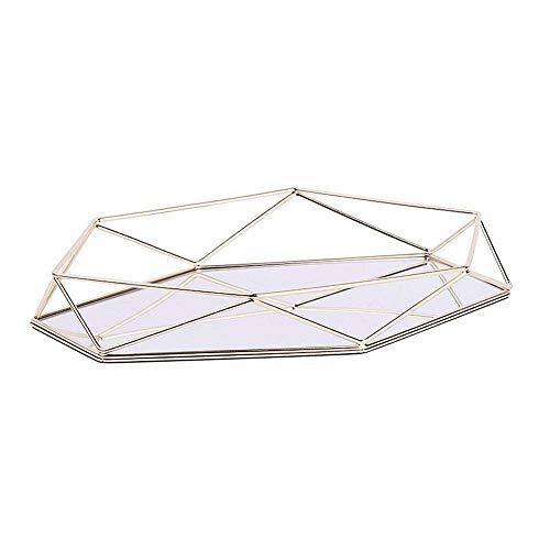 Vintage Spiegeltablett Gold Verspiegelt Platte Verspiegelt Deko Tablett Spiegel Tablett Sechseckiges Tablett Aus Gold Als Schminktisch Aufbewahrung Tablett Dreidimensionales Ablagefach Aus Eisen Gold-tablett