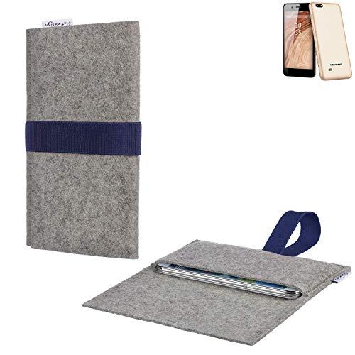 flat.design Handytasche Aveiro mit Filz-Deckel und Gummiband-Verschluss für Blaupunkt SL 04 - Sleeve Case Etui Filz Made in Germany hellgrau dunkelblau - passgenaue Handy Hülle für Blaupunkt SL 04