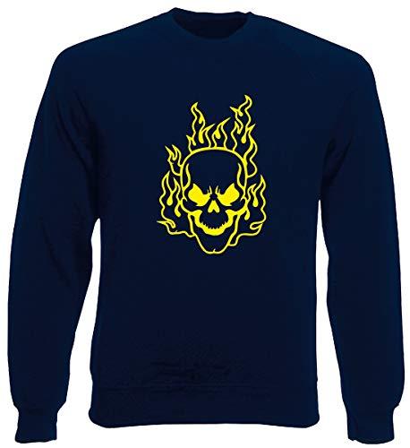 T-Shirtshock Rundhals-Sweatshirt fur Mann Blau Navy FUN0419 Flaming Skull Flaming Skull Sweatshirt