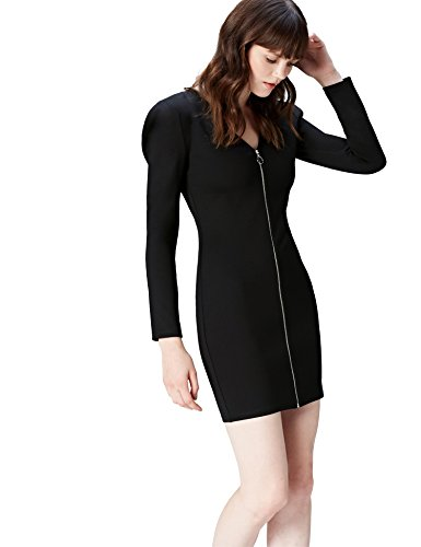 FIND Kleid Damen mit Puffärmeln und Reißverschluss Schwarz, 42 (Herstellergröße: X-Large)