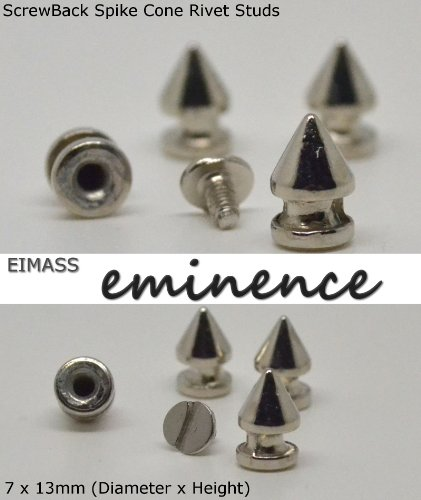EIMASS® Premium Alloy Screw-Back Spike Cone Rivet Bullet Studs, DIY Craft, Embellish Shoes, Bags, Costumes, Converses, Customise Personal Items