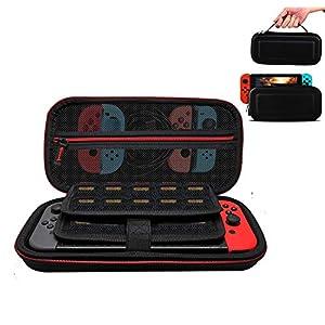 Tasche für Nintendo Switch,Tragetasche für Nintendo Switch–Tragbares Harte Schutzhülle Travel Tragetasche mit Größerem Speicherplatz für 19 Spiele und Anderes Nintendo Switch Zubehör