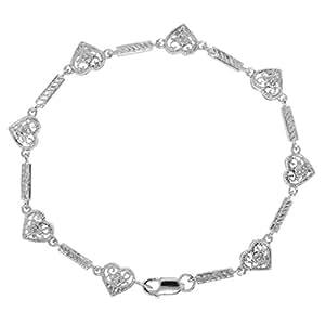 Central World Gioelli Sterling Silver Diamond Cut-out Filigree Heart Bracelet-Silver