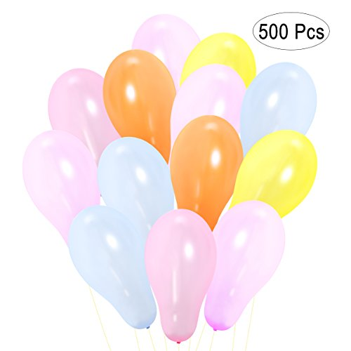NUOLUX 500pcs Assorted Bright Color Latex Water Balloons (Random Color)