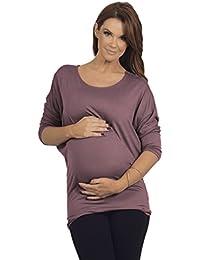 Schwangerschafts Tunika Oberteil runder Ausschnitt mit dreiviertel Dolman Ärmel drapiert Stretch
