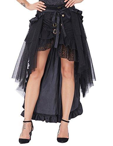 Falda Mujer Vintage Plisada Faldas Punk Rock Gótico Asimétrico Falda Negro XL