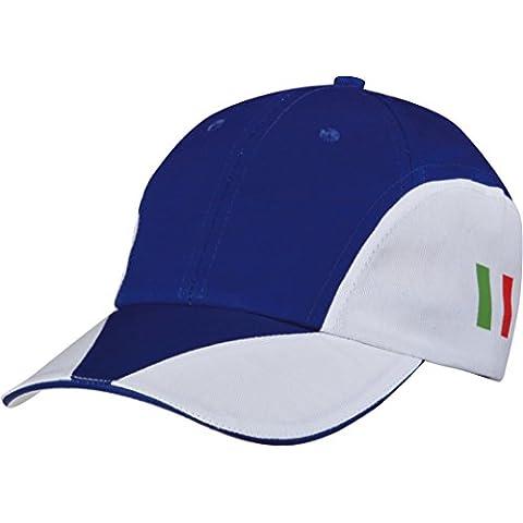 CAPPELLINO 8 PANNELLI BICOLORE SANDWICH visiera rigida precurvata, tricolore italiano stampato, chiusura regolabile con velcro. Colore Blu