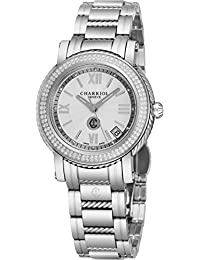 fe54c34fe5ab Charriol Parisii Womens Stainless Steel Real Diamond Watch - 33mm Analog  Silver Face with Second Hand