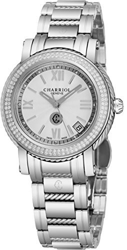 Charriol Parisii Womens Stainless Steel Real Diamond Watch - 33mm Analog Silver Face with Second Hand, Date and Sapphire Crystal Ladies Watch - Metal Band Swiss Quartz Watches for Women P33SD.P33.001