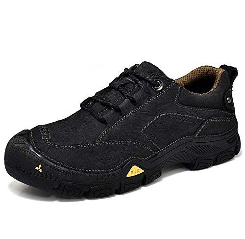 Scarpe da escursione all'aperto da uomo scarpe da ginnastica antisdrucciolevole in pelle vera e propria ( Color : Black , Size : 38 )