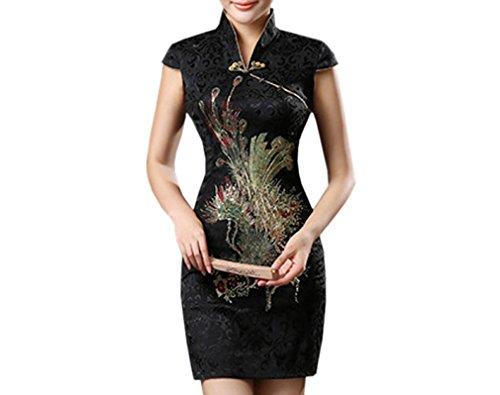 XueXian(TM) Damen Sommer Kleid Mini Qipao mit V-Ausschnitt in Drei Farben (EU 36-38 China/L, Schwarz)