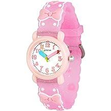 WOLFTEETH Grade School Niña Reloj analógico Reloj deportivo resistente al agua Día de la escuela Regalo de Christmmas Banda de reloj única Bowknot Rosa 308304