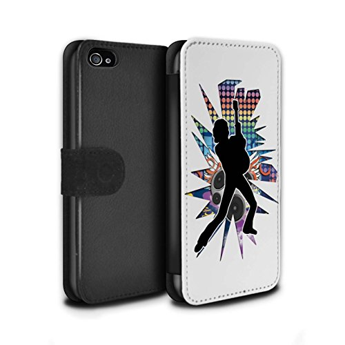 Stuff4 Coque/Etui/Housse Cuir PU Case/Cover pour Apple iPhone 4/4S / étendre Blanc Design / Rock Star Pose Collection Pencher Blanc