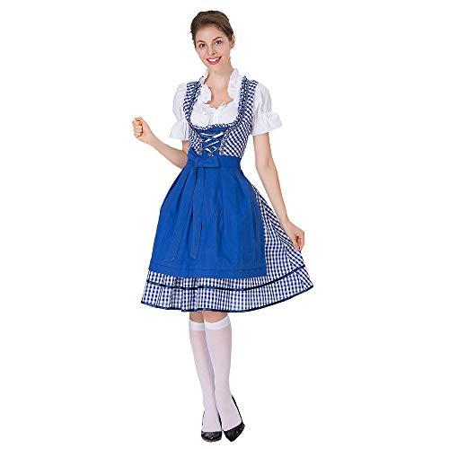 Yaohxu Dirndlbluse Trachtenkleid,Oktoberfest Kostüm für Damen Bayerisches Biermädchen Drindl Tavern Maid Dress,Kostüm-Schmuck für Erwachsene,Blau,XXL