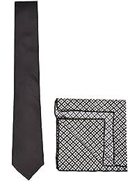 Chokore Black Silk Tie & Black And White Plaids Pocket Square Set