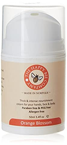 Crème pour les mains - Orange Blossom - Crème pour les ongles et les mains à l'huile de noix de coco, à la cire naturelle d'abeille et au miel- Un délice pour les mains et les peaux très sèches.