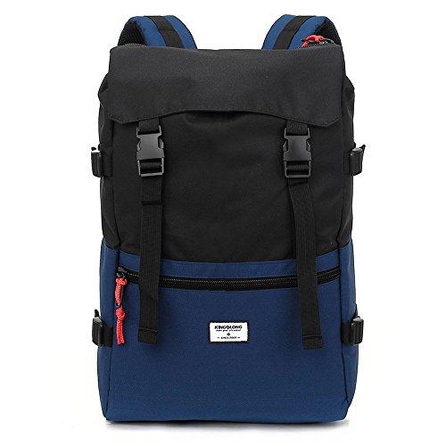 Kingslong Laptop-Rucksack mit Diebstahlschutz, für 15,6 Zoll-Laptops, wasserfeste Computer-Notebook-Tasche mit großem Fach, für Frauen und Männer, schwarz / blau (Schwarz) - KINGSLONG