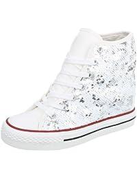 Blanco Store Sneakers Donna in Tela Jeans Scarpe Sportive Denim Stringate con Zeppa (37, Jeans)