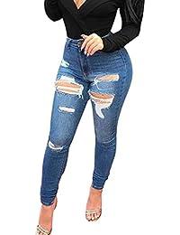 ee1a7cbe0cfc1a Hibote Donna Jeans A Vita Media, Retro Strappati Skinny Slim Fit Denim  Pantaloni con Cerniera