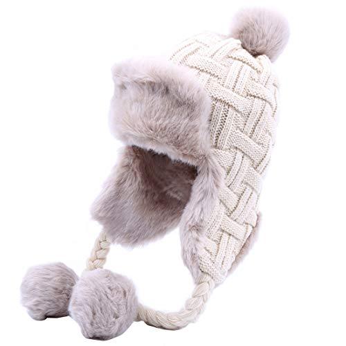 Kuyou Damen Winter Hut Ohrenschützer Trapper Warm Fellmütze, Weiß, Einheitsgröße