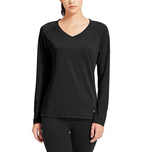 Baleaf Damen Fitness T-Shirt Sweatshirts Langarm Atmungsaktiv Mesh Laufshirt Schwarz Größe M (Kompressionskleidung Körper)