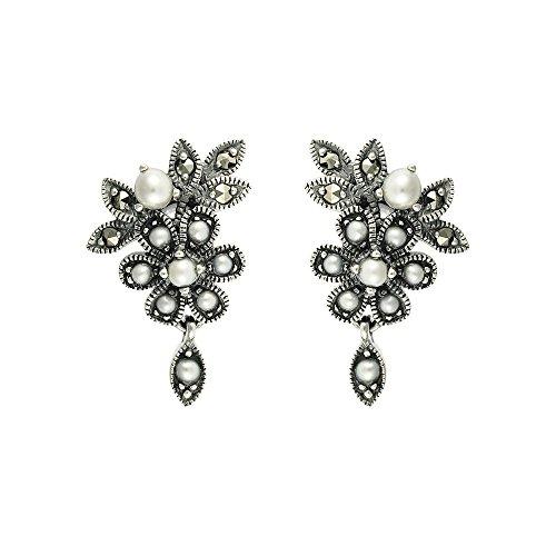 Esse Ring Markasit Sterling Silber chinesische Süßwasserperle und Markasit, viktorianischer Floral Ohrringe