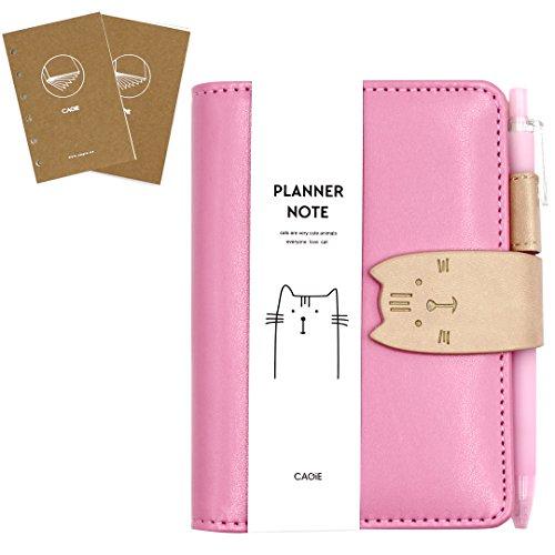 cuddty A7Größe PU Leder Katze Spirale Notebook Planer Taschen Memo Reisen Tagebuch Schule Einband Einheitsgröße rose