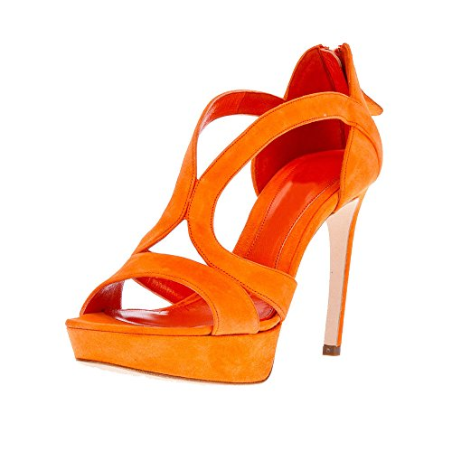 Onlymaker Damenschuhe High Heels Open Freie Toe Zip Reissverschluss Sandale Wildleder Orange