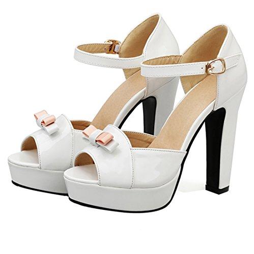 UH Femmes Sandales Bride Cheville Peep Toe avec Noeuds Vernis Elegantes à Talons Haut Bloc Blanc