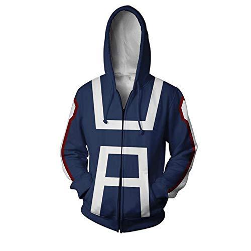 QianQian Hero School Blau Hoodie Sweatshirt Cosplay Jacke Kapuzenpullover Kostüm Coat T-Shirt (XXL, Blau Hoodie ()