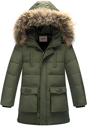 Zoerea Jungen Daunenjacke Winterjacke Mantel mit Kapuze Verdicken Schneeanzug Warm Kinder Trenchcoat Winter Oberbekleidung Kleidung(Armeegrün, Etikett 130)