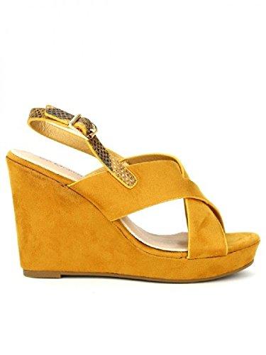 Cendriyon, Compensée Camel simili peau VIVI Chaussures Femme Caramel  Manchester Vente Fiable Boutique Faible Coût