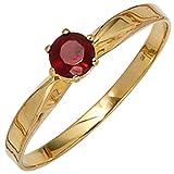 JOBO Damen-Ring 585 Gold Gelbgold 1 Granat Größe 54