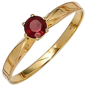 JOBO Damen-Ring 585 Gold Gelbgold 1 Granat