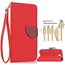 SongNi®+Free Gifts Multifunctional Data Line PU Leather Wallet Funda,Leaf shape Magnetic Closure,Card Slot,Wallet,Stand,Flip leather Funda for Alcatel Onetouch Pixi 4 3G 5010D 5.0 inch-Red