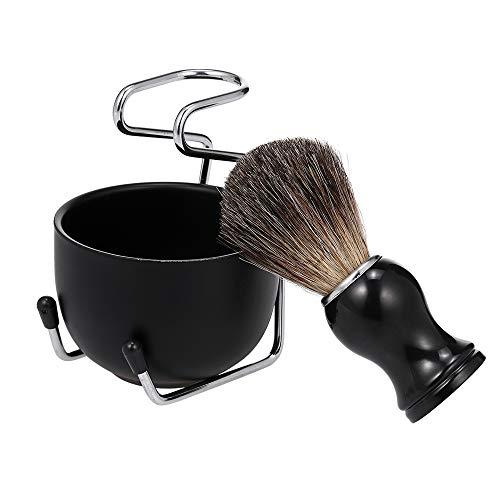 Lechnical Rasierset für Männer Rasierseifenschale mit Bürstenständer Basis Stahl Gesichtshaarreinigung für Männer Bad-Set Vertikalstütze Schwarz
