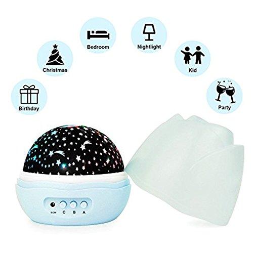 LED Star Projektor Lampe,360 Grad Romantische ,Beruhigendes und Entspannendes Einschlaflicht,Nachlicht für Babys, Kinder und Erwachsene Nachtlichter
