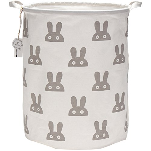 "Sea Team 19.7"" Large Sized Waterproof Coating Ramie Cotton Fabric Folding Laundry Hamper Bucket Cylindric Burlap Canvas Storage Basket with Cute Bunny Design (Grey)"