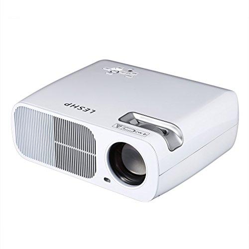 WIFI Beamer, LESHP HD Portble 3200 Lumen Projektor, LED LCD USB Heimkino Videoprojektor 800x480 Native Auflösung Unterstützt 1080P TV AV HDMI VGA 3200 lumens für zu Hause, Präsentation, Unterwegs Konferenzrunde Party Unterhaltung (Weiß mit WIFI)