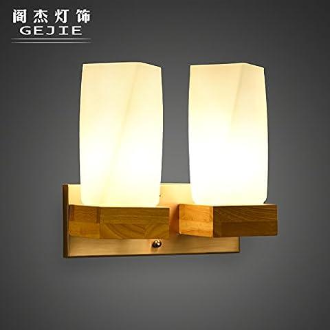 Die Verglaste Halle Schlafzimmer Wohnzimmer Mit Bett Lampe Wand Lampe C Us - Minimalistischen Kreative Eingang Holz 2 Kopf